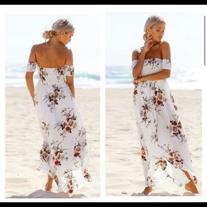 Dresses - Summer Boho Off-shoulder Floral Dress